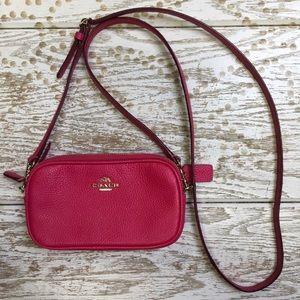 Coach hot pink small 2 zip crossbody - like new